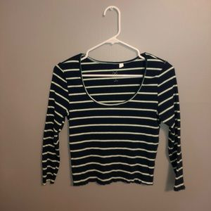 PACSUN 3/4 sleeve blue green and white striped top
